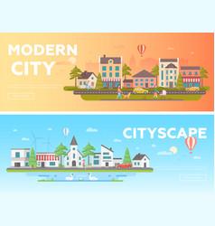 Cityscape - set of modern flat vector