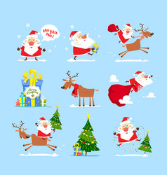 collection of santa claus merry christmas set vector image
