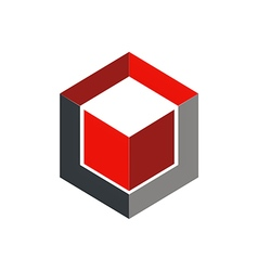 Cube 3d abstract geometry logo vector