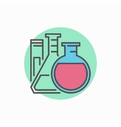 Flasks with test tube colorful icon vector