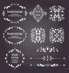 Floral design elements set ornamental vintage vector