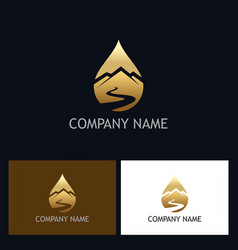 gold water drop mountain logo vector image vector image