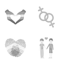 Hands feminism fingerprints gay set collection vector