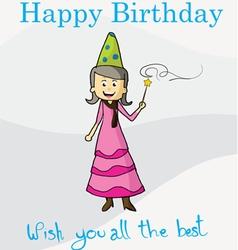 Happy birthday magic postcard vector
