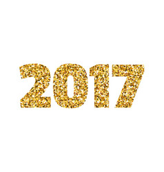 Happy new year 2017 gold glitter text on white vector