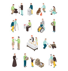 Humanitarian charity characters collection vector