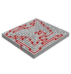 labyrinth maze made with 3d effect vector image vector image
