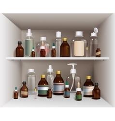 Medical Bottles On Shelves Set vector image vector image