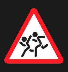 School children sign flat icon vector
