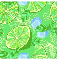 Seamless texture with lime mint and ice vector