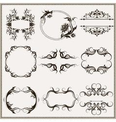 set of elegant calligraphic frames vector image