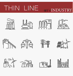 Set of factories related line icons vector