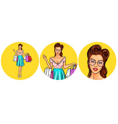 set of womens pop art round vector image vector image