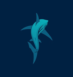 Shark sailing far away sign logo on dark vector