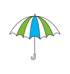silhouette color section of opened stripe umbrella vector image vector image