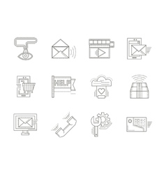 Thin line icons for technical support vector image