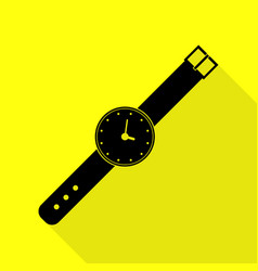 Watch sign black icon with flat vector