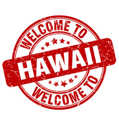 Welcome to hawaii red round vintage stamp vector