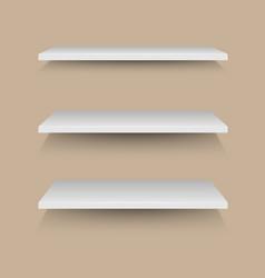 White shelves on brown wall vector