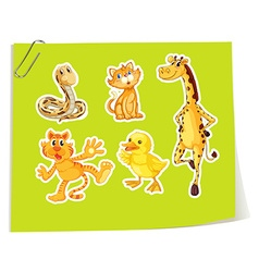 Wild animals on yellow paper vector image vector image