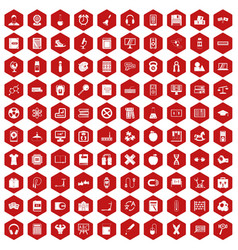 100 learning kids icons hexagon red vector image