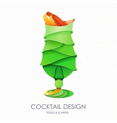 3D cocktail mojito design vector image