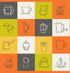 Multicolor coffee thin line icons set vector