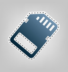 memory card sign  blue icon with outline vector image