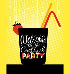 Cocktail party poster holiday invitation welcome vector
