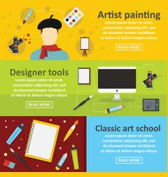 Painter tools banner horizontal set flat style vector