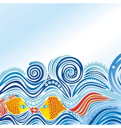 Beautiful sea wave fishes vector