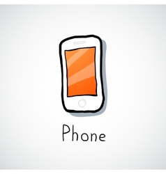 White mobile phone vector