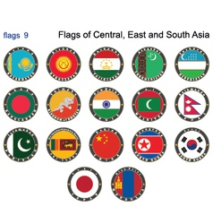 Flags of central east and south asia vector