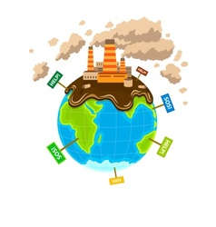 World planet pollution vector