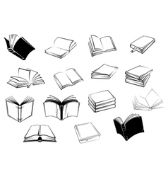 Black and white open books icons vector