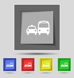 Taxi icon sign on original five colored buttons vector