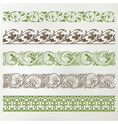 Decorative seamless borders set vector
