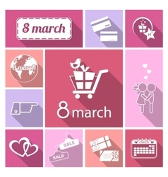 Womens day icons set vector