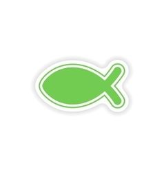 Paper sticker on white background christian fish vector