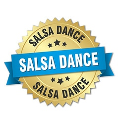 Salsa dance 3d gold badge with blue ribbon vector