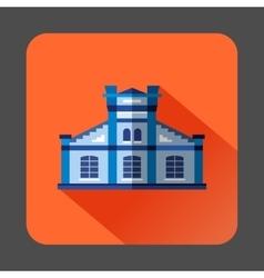 Blue public building icon flat style vector