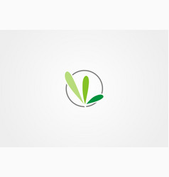 abstract green leaf ecology organic logo vector image
