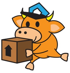 Bull and box vector image
