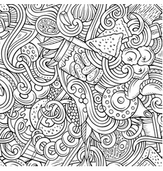 Cartoon doodles russian food seamless pattern vector