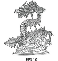 chinese style dragon statue vector image