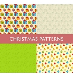 Christmas colorful seamless patterns set vector