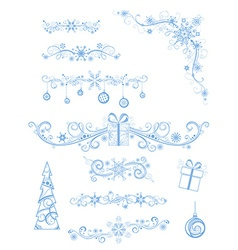 Christmas page dividers and decorations isolated vector image vector image