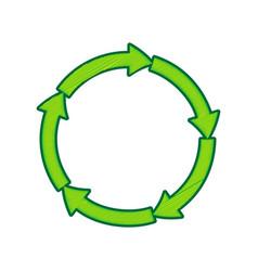 circular arrows sign lemon scribble icon vector image vector image