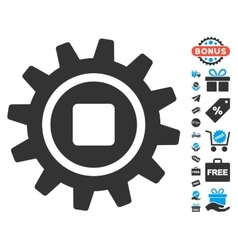 Cog Icon With Free Bonus vector image vector image