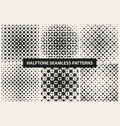 Collection of halftone seamless geometric patterns vector